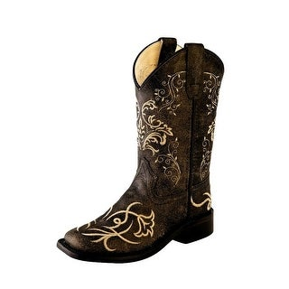 Old West Cowboy Boots Boys Girl Kid Stitching Vintage Charcoal - vintage charcoal