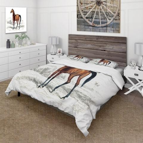 Designart 'Vintage Horse' Farmhouse Duvet Cover Set