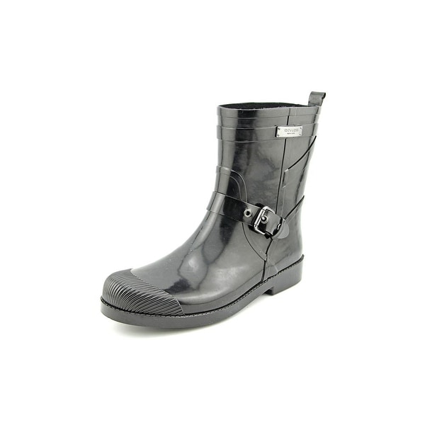 Coach Lester Shiny Rubber Women Round Toe Synthetic Black Rain Boot