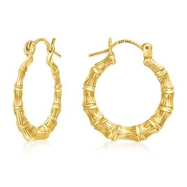 MCS JEWELRY INC 10 KARAT YELLOW GOLD HOOP EARRINGS BAMBOO STYLE 21MM
