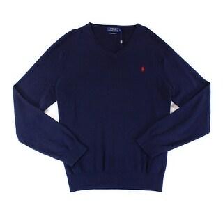Polo Ralph Lauren NEW Navy Blue Mens Size 2XL Pima Knit V-Neck Sweater