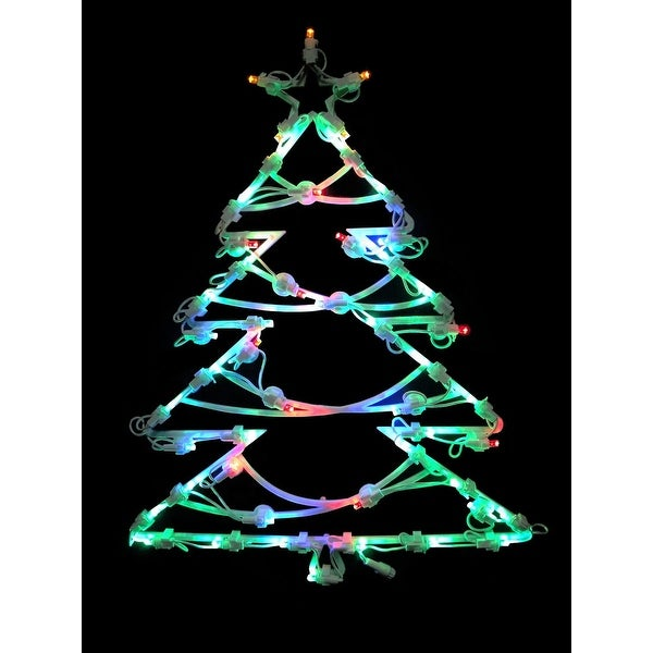 "18"" LED Lighted Tree Double Sided Christmas Window Silhouette Decoration - green"