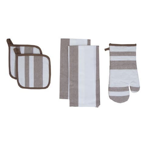 D.Franco Yarn Dyed Cotton Value Set of Kitchen Towel, Pot Holder and Oven Mitten