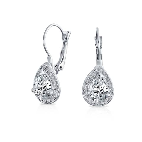 2.25CT Prom Crystal Halo Teardrop CZ Earrings Silver Plated Alloy