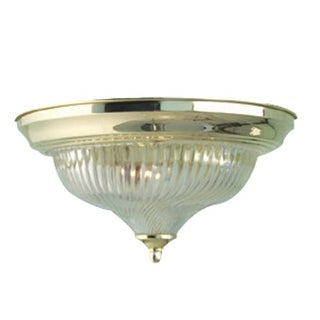 "Woodbridge Lighting 31000 Swirl 1 Light 11"" Wide Single Flush Mount Ceiling Fixture with Ribbed Swirl Glass Shade"