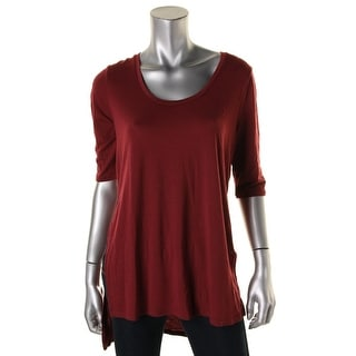 Rebellious One Womens Juniors Hi-Low Elbow Sleeves Tunic Top
