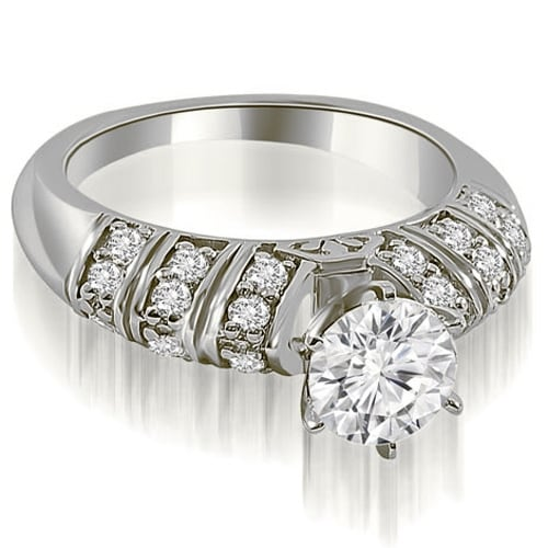 1.25 cttw. 14K White Gold Antique Style Round Cut Diamond Engagement Ring