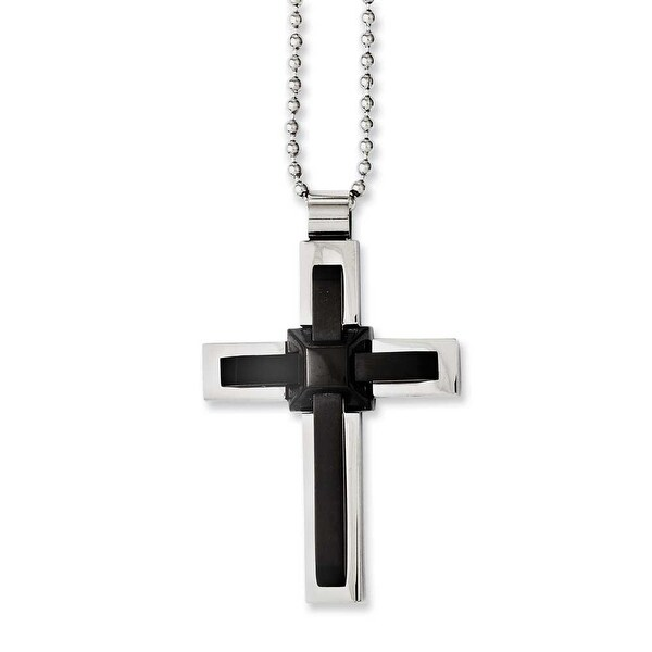 Chisel Stainless Steel Black IP-plated and Polished Cross 20in Necklace (2 mm) - 20 in