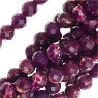 Impression Jasper Gemstone, Faceted Round Beads 6mm, 16 Inch Strand, Deep Purple