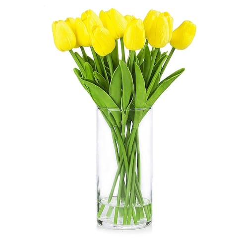 Enova Home Artificial Real Touch Tulips Flower Arrangement in Clear Glass Vase With Faux Water For Home Decoration