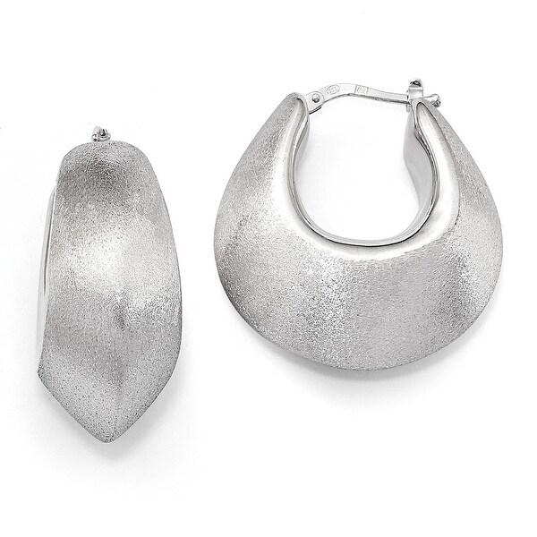 Italian Sterling Silver Polished & Satin Hoop Earrings