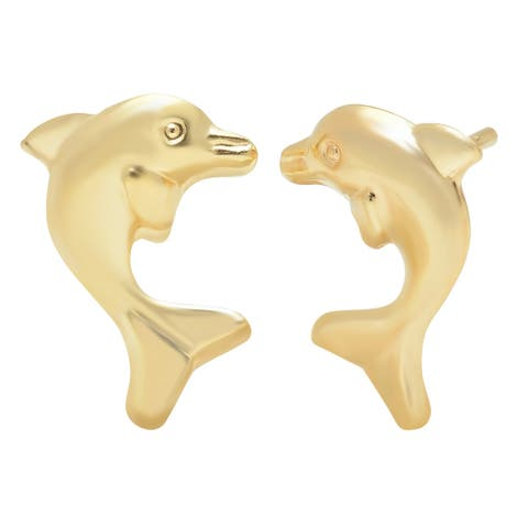 Pori Jewelers 14K Solid Gold Dolphin Stud Earrings BOXED