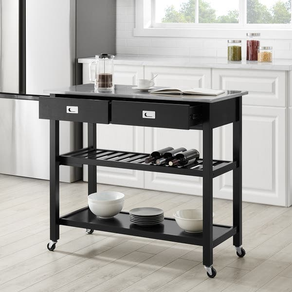Chloe Stainless Steel Top Kitchen Island Cart 37 H X 42 W X 20 D Overstock 31104176