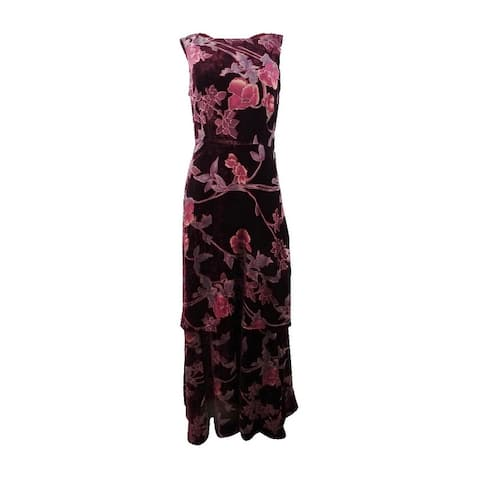 Tahari ASL Women's Layered Floral-Print Velvet Gown - Bordeaux/Rose/Plum
