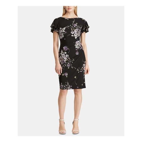 RALPH LAUREN Black Short Sleeve Knee Length Dress 10