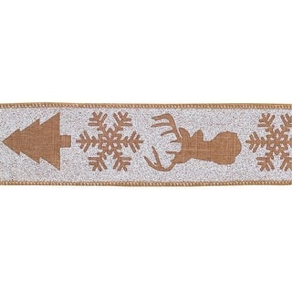 Pack of 6 Woodsy Brown and Gray Pine Tree Snowflake and Stag Wired Polyester Ribbons