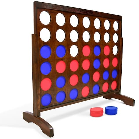 GoSports Giant Portable 4 in a Row Game Dark Wood Stain - Huge 4 Foot Width - with Rules and Carry Bag