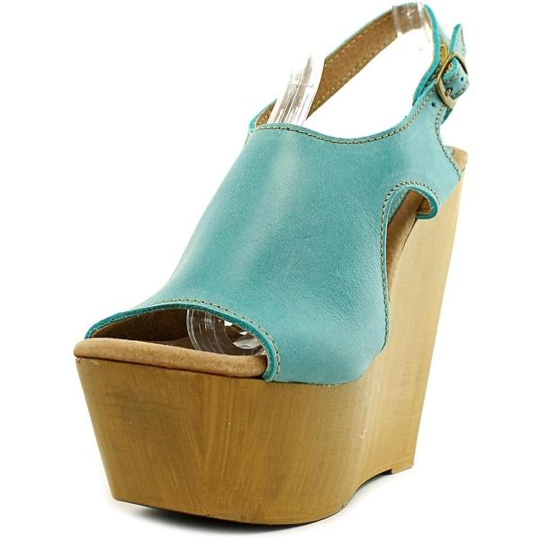 Sbicca Tullane Women Open Toe Leather Blue Wedge Sandal