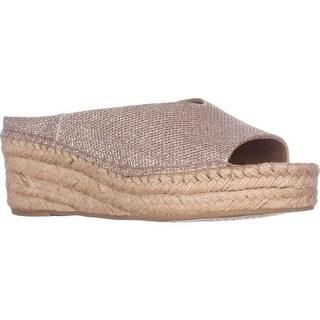 Franco Sarto Pine Espadrille Slip On Wedge Mules, Platinum