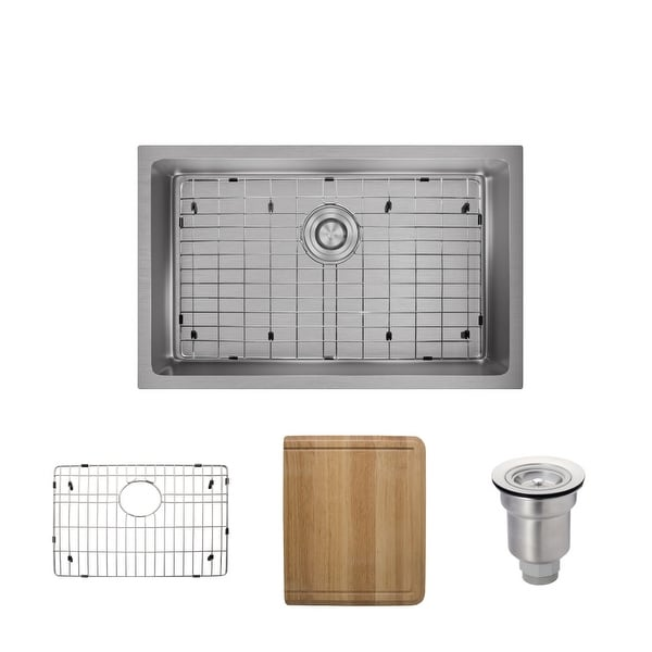 """Rene R1-1035S 28-1/8"""" Single Basin Stainless Steel Kitchen Sink - Basin Rack, Basket Strainer, and Cutting Board Included"""