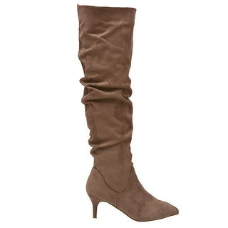 Unilady Adult Taupe Pointy Toe Ruched Low Heeled Tall Boots
