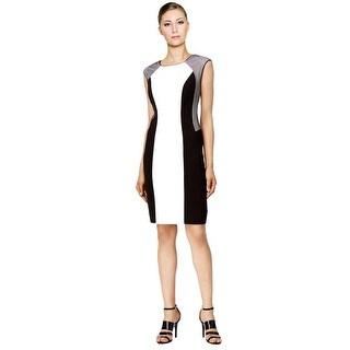 Calvin Klein Petite Colorblocked Sleeveless Sheath Cocktail Dress - 6P