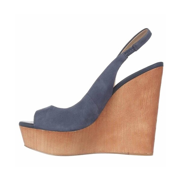 BCBGeneration Womens haven Peep Toe Ankle Strap Wedge Pumps