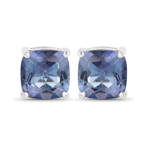 4.16 Carat Genuine Tanzanite Color Mystic Quartz .925 Sterling Silver Earrings
