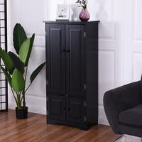 Costway Accent Storage Cabinet Adjustable Shelves Antique 2 Door Floor Cabinet Black