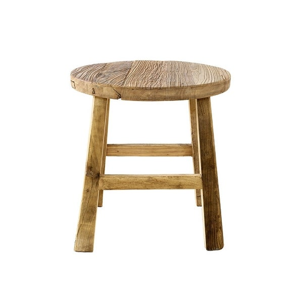 """El Paso Import Handmade Reclaimed Elm Round Side Table, Wooden Finish - 22""""L x 22""""W x 23""""H. Opens flyout."""