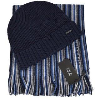 Hugo Boss Men's FADON Blue Stripe Beanie Scarf Boxed Gift Set