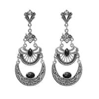 Antique Drop Black Earrings