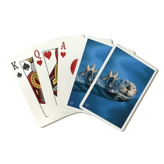 Sea Otter - Lantern Press Artwork (Playing Card Deck - 52 Card Poker Size with Jokers)