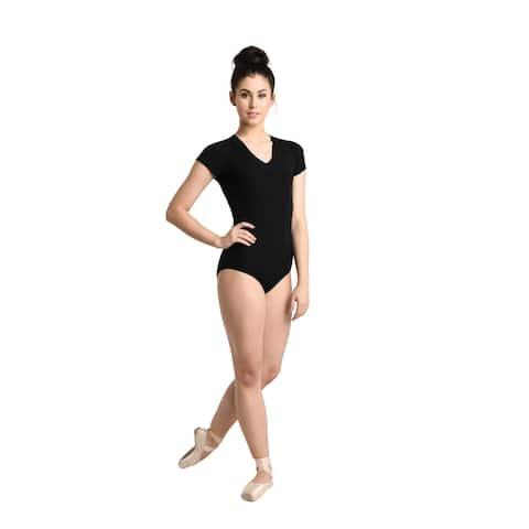 Danshuz Women's Black Rib V-Neck Cap Sleeve Lined Dancewear Leotard