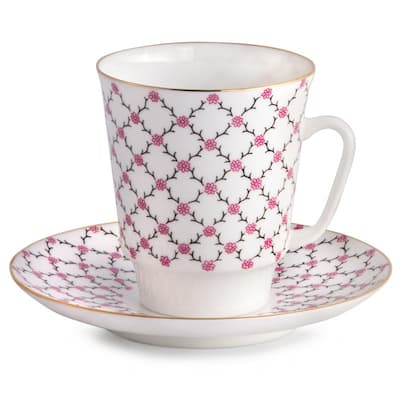 Imperial Porcelain Factory Rose Pink Netting Teacup and Caucer Set