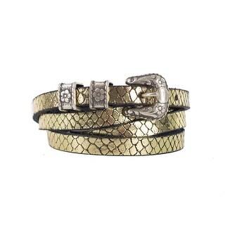 Roberto Cavalli Gold Metallic Snakeskin Leather Skinny Belt