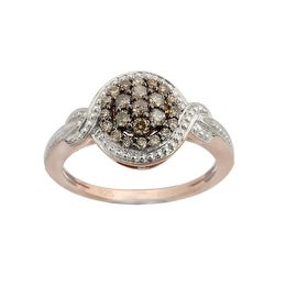 Fabulous Cluster Ring With Studded 0.34 Carat Real Brown Diamond