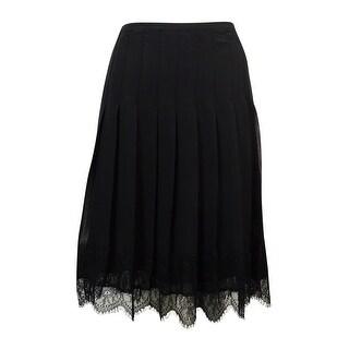 Lauren Ralph Lauren Women's Scalloped-Lace Chiffon Skirt - Black - 4