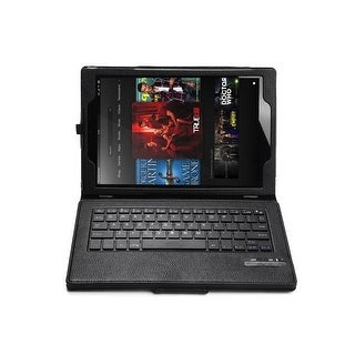 Leather Case Cover With Bluetooth Keyboard for Fire HD 10 2015 Tablet -Black