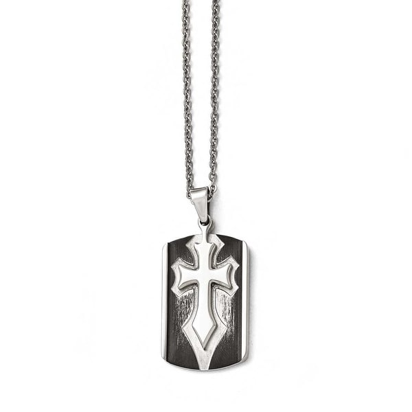 Chisel Stainless Steel Brushed and Polished Antiqued Cross Dogtag Necklace - 22 in