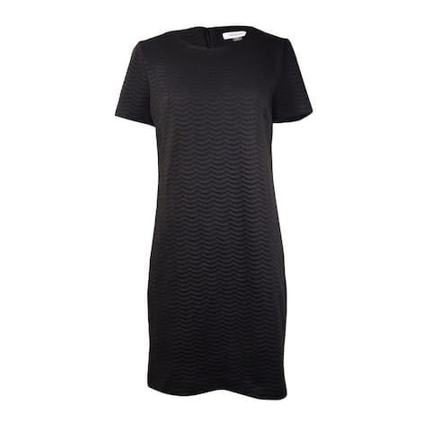 Calvin Klein Women's Textured Wave Knit Sheath Dress - Black