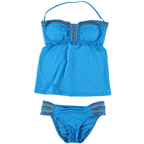Lucky Brand Womens Fiesta Hipster 2 Piece Tankini, blue, Small