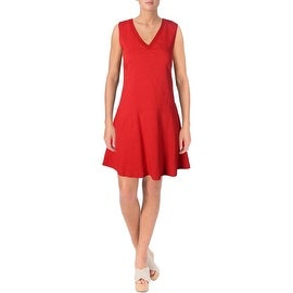 Theory Womens Lethima Linen Blend V-Neck Casual Dress - 2