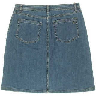 Two by Vince Camuto Womens Stretch Button Placket Denim Skirt