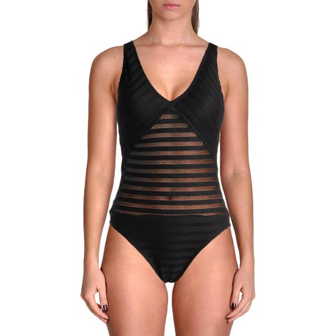 Lauren Ralph Lauren Womens Mesh Illusion One-Piece Swimsuit