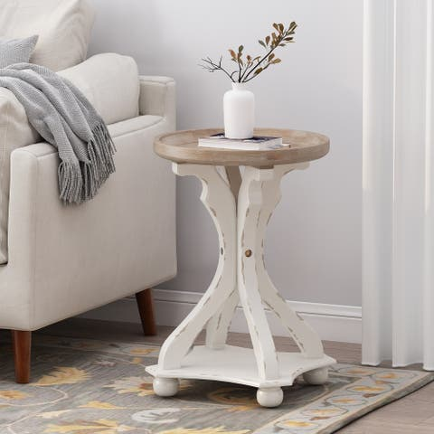 Callao French Country Accent Table with Round Top by Christopher Knight Home