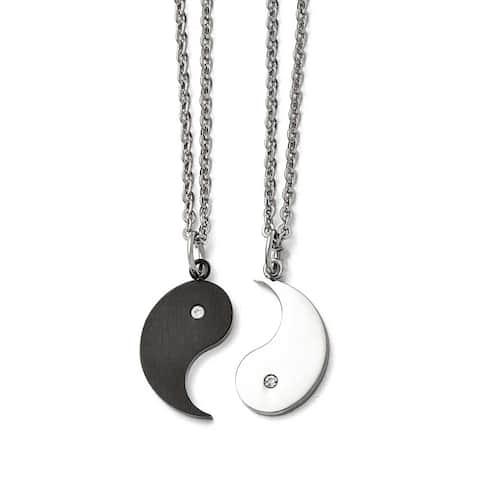 Chisel Stainless Steel 1/2 Brushed Black IP Ying w/ CZ & 1/2 Polished Yang Necklace Set