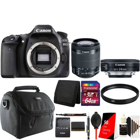 Canon EOS 80D 24.2MP DSLR Camera with 18-55mm with 24mm 2.8 IS STM Lens + Essential Kit