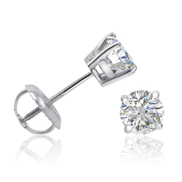 Amanda Rose Igi Certified 14k White Gold Eco Friendly 1ct Tw Lab Grown Diamond Stud