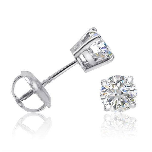 DISCOUNTINUED IGI Certified 14K White Gold Eco-Friendly 3/4ct TW Lab Grown Diamond Stud Earrings with Screw Backs (SI1-2 I-J)